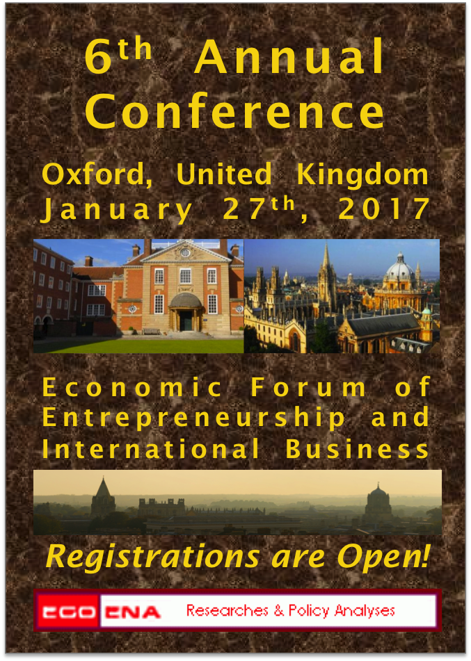 6th Annual Conference of Economic Forum of Entrepreneurship & International Business